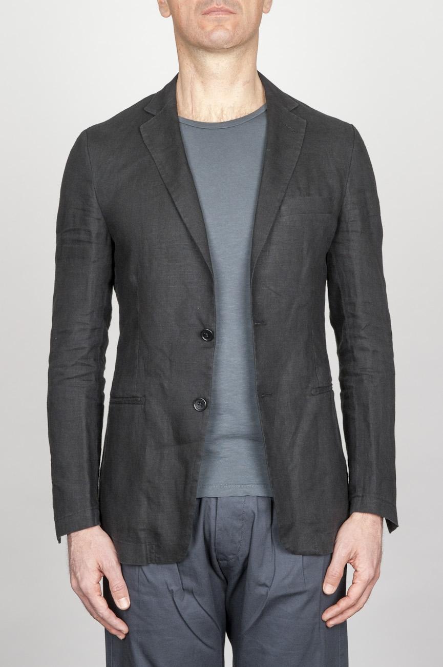 SBU - Strategic Business Unit - Single Breasted Unlined 2 Button Jacket In Black Linen
