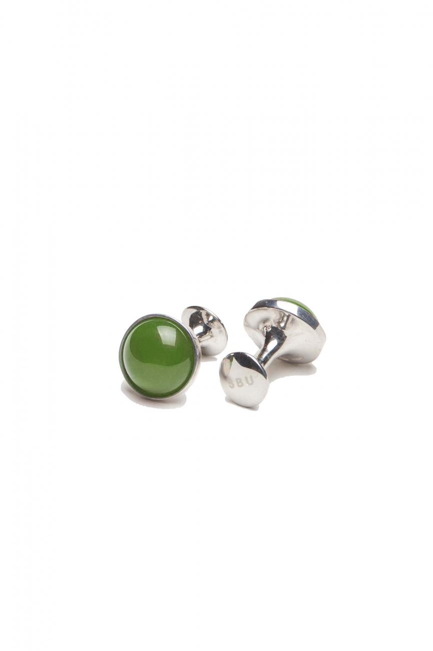 SBU 01011 Gemelos clásicos de plata y jade hecho a mano 01