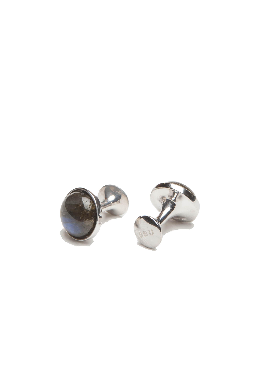 SBU 01012 クラシックな銀とラブラドライトの手作りカフスボタン 01