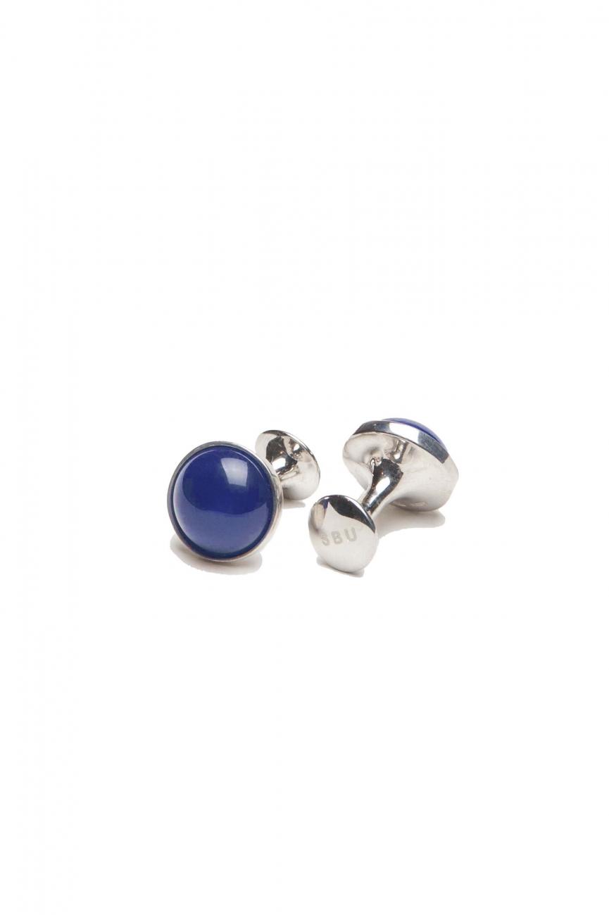 SBU 01013 Gemelos clásicos de plata y mineral lapislazzuli hecho a mano 01