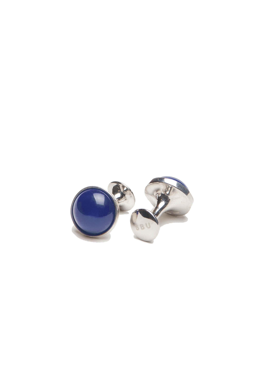 SBU 01013 Classic silver and lapislazzuli mineral handmade cufflinks 01