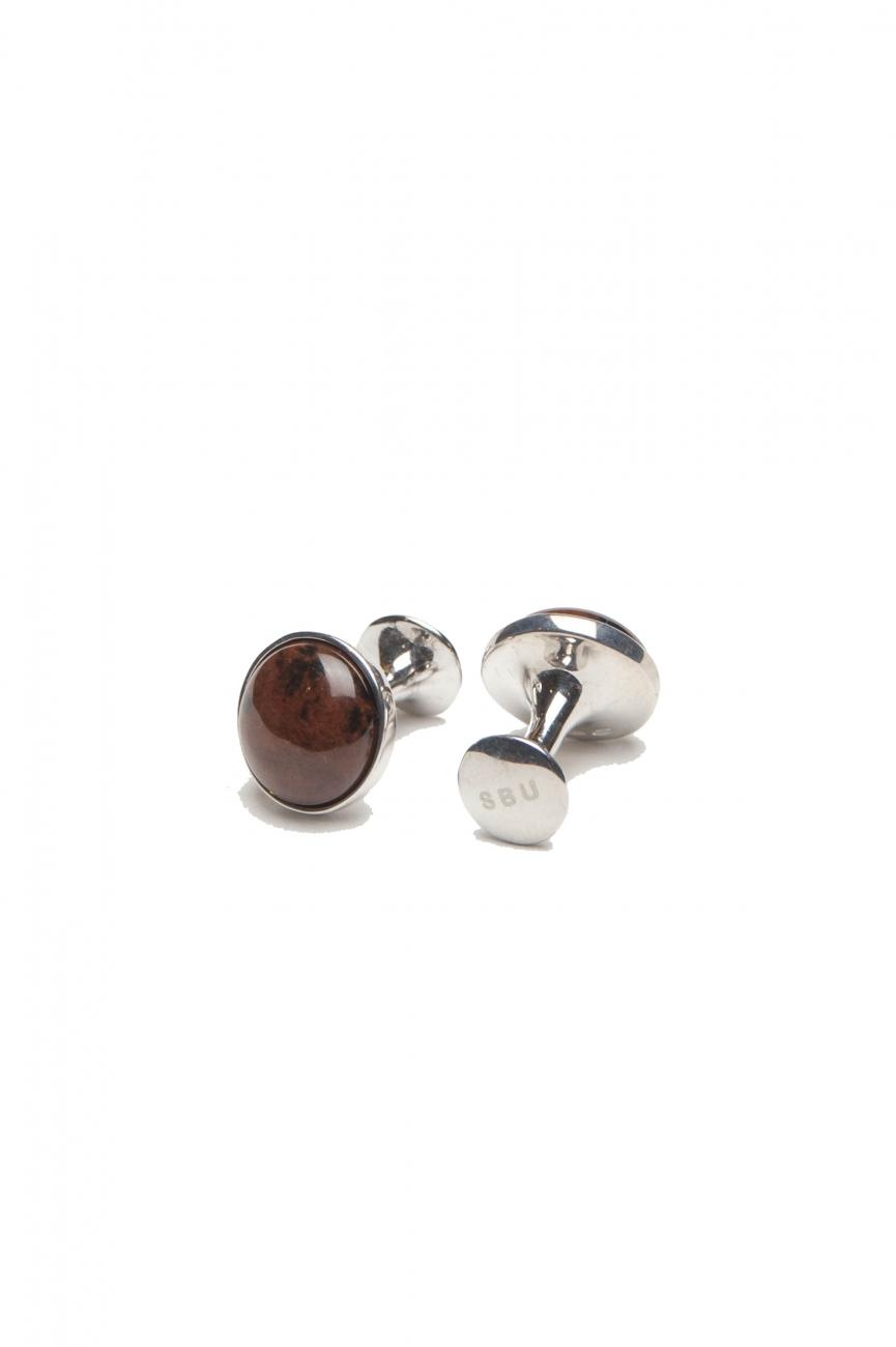 SBU 01015 Gemelli classici fatti a mano in argento e pietra occhio di tigre 01