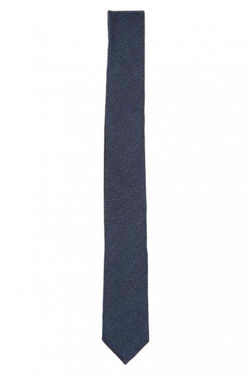 SBU 01571 Cravatta classica skinny in lana e seta blu 01