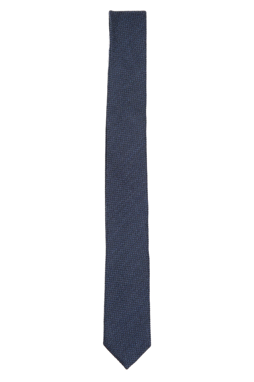 SBU 01571 Corbata clásica de punta fina en lana y seda azul 01