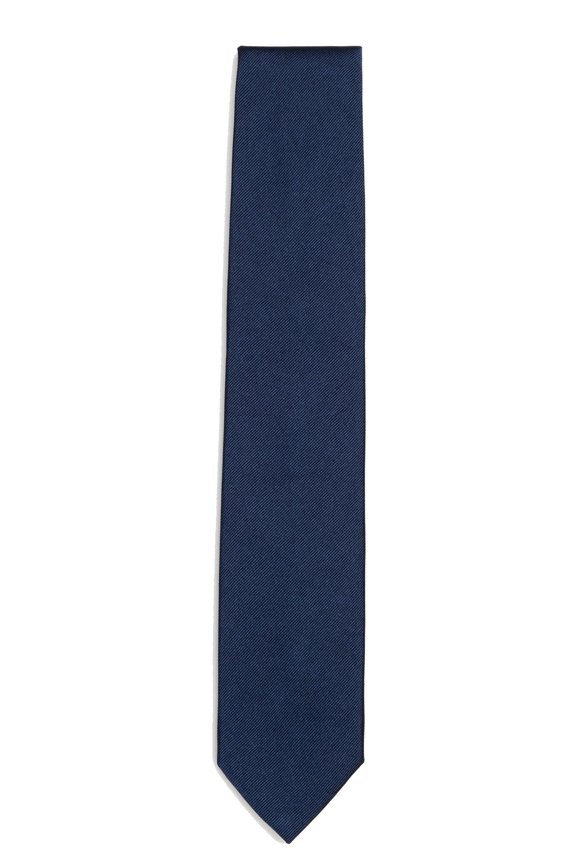 SBU 01574 Corbata clásica de punta fina en seda azul 01
