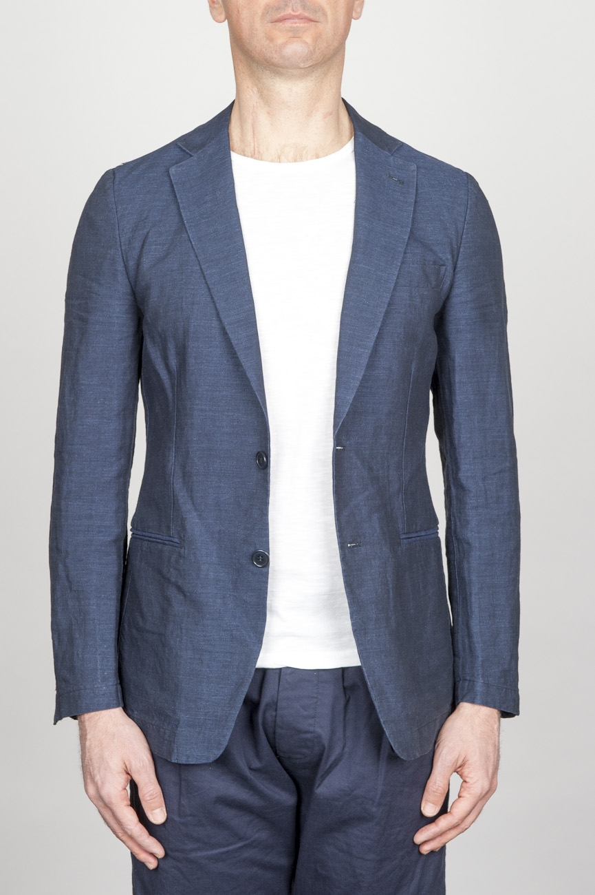 SBU - Strategic Business Unit - Single Breasted Unlined 2 Button Jacket In Indigo Blue Linen