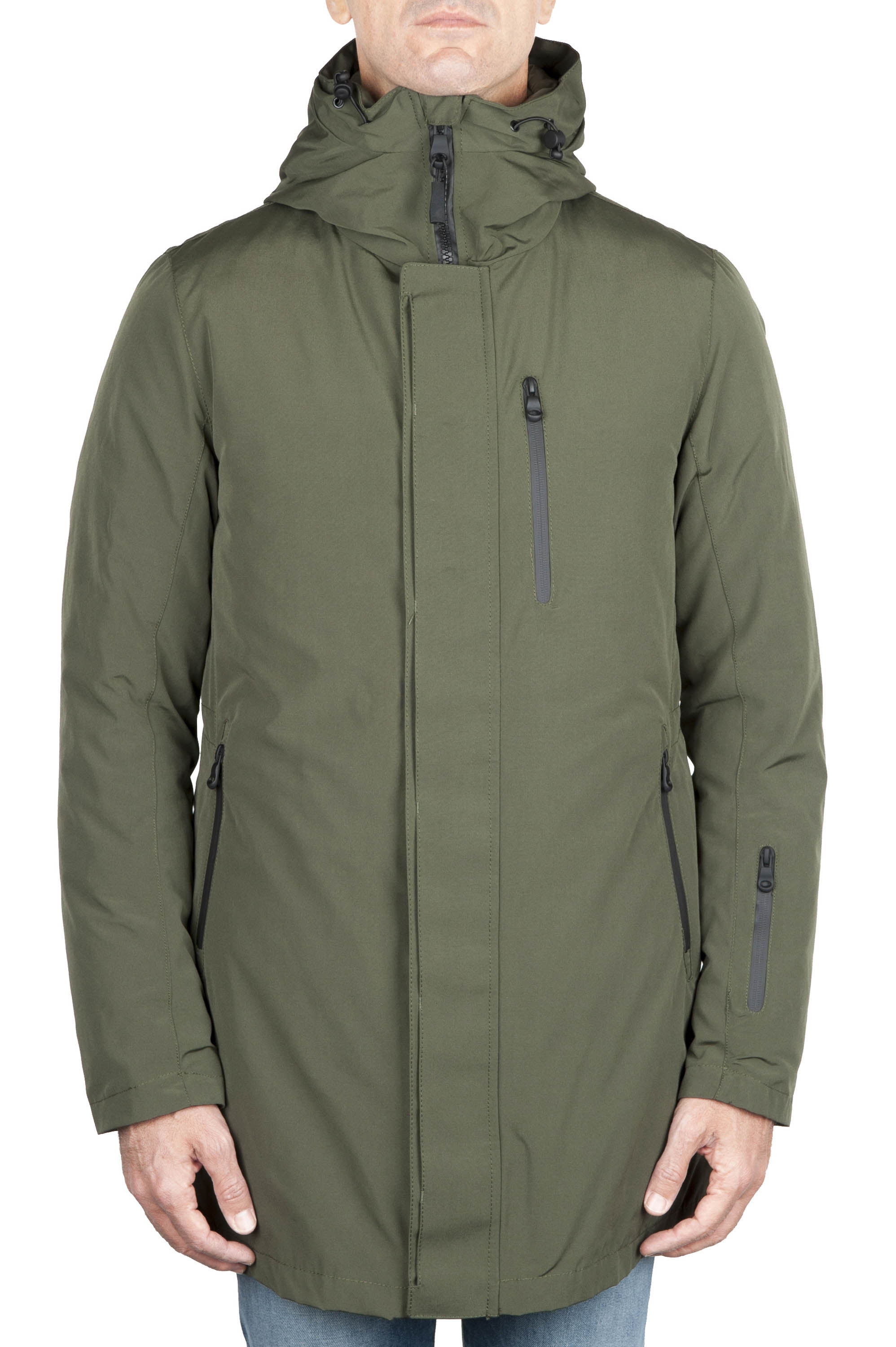 SBU 01582 Thermic waterproof long parka and detachable down jacket green 01