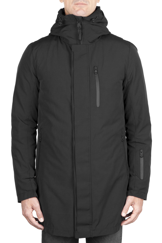 SBU 01583 Parka térmica larga impermeable y chaqueta de plumón desmontable negro 01
