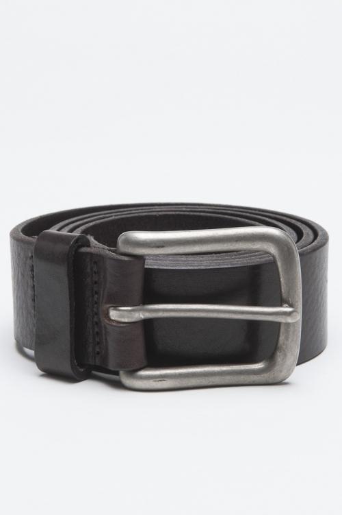 Cintura Classic In Pelle Di Vitello Marrone Con Fibbia Di Metallo 3 Cm