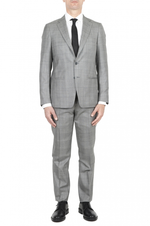 SBU 01588 Men's grey prince of Wales cool wool formal suit blazer and trouser 01