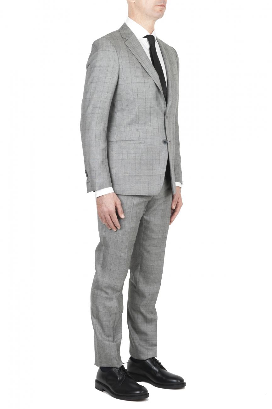 44ddd2d255 ... SBU 01588 Blazer y pantalón de traje formal Principe de gales en lana  fresca gris 02 ...