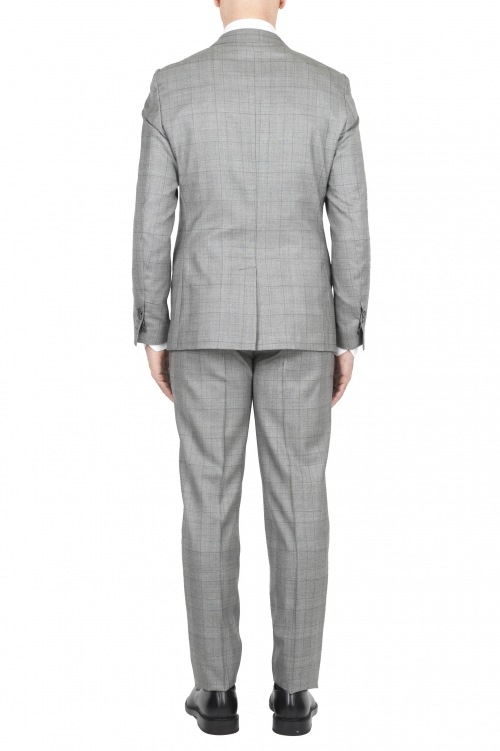 SBU 01588 Abito grigio principe di Galles in fresco lana completo giacca e pantalone 01