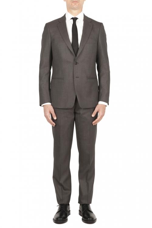 SBU 01589 Blazer y pantalón de traje formal en lana fresca marrón oscuro 01