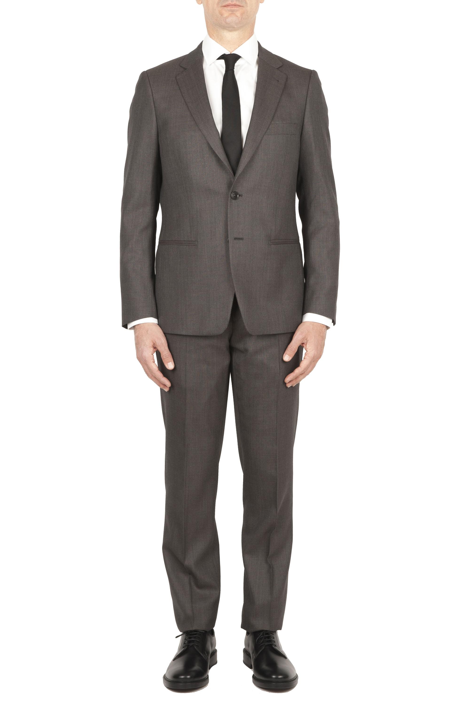 SBU 01589 Abito marrone in fresco lana completo giacca e pantalone occhio di pernice 01
