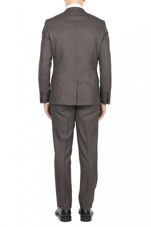 SBU 01589 Veste et pantalon de costume formel en laine vierge brune perdrix  01