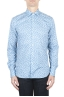 SBU 01590 Geometric printed pattern light blue cotton shirt 01