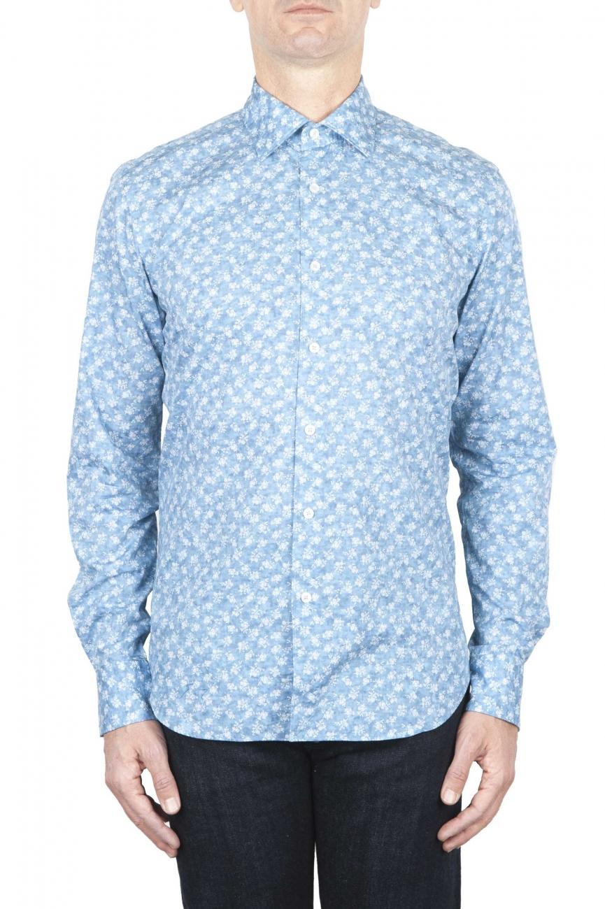 SBU 01590 Camisa de algodón estampado geométrico azul claro 01