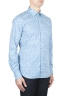 SBU 01590 幾何学模様のライトブルーのコットンシャツ 02
