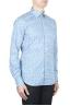 SBU 01590 Geometric printed pattern light blue cotton shirt 02