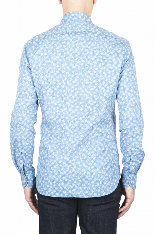 SBU 01590 Geometric printed pattern light blue cotton shirt 01