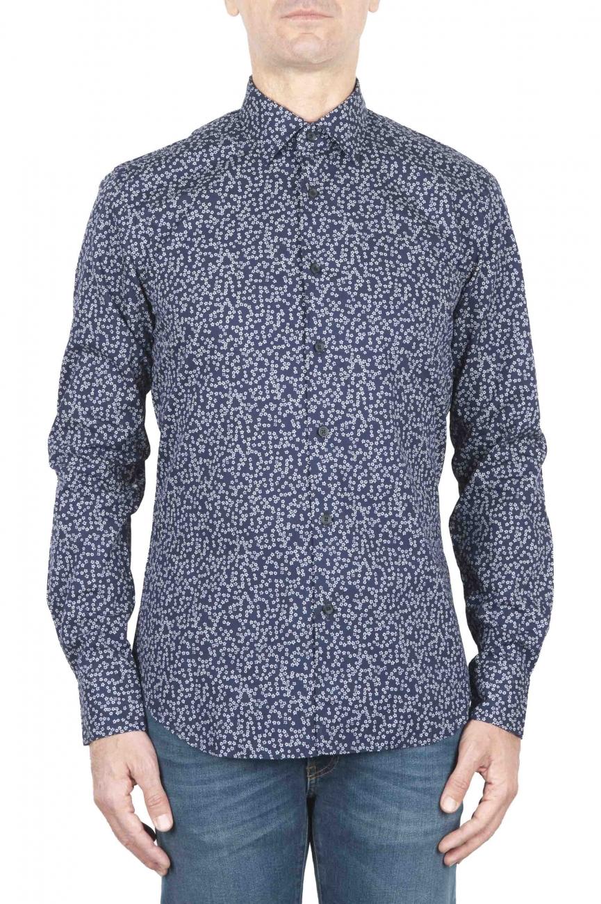 SBU 01591 Camicia fantasia in cotone stampato blu 01
