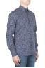 SBU 01591 Geometric printed pattern blue cotton shirt 02