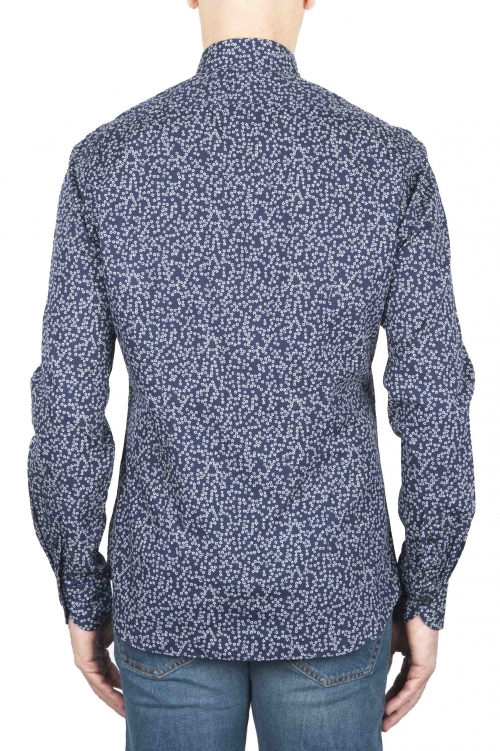 SBU 01591 Geometric printed pattern blue cotton shirt 01