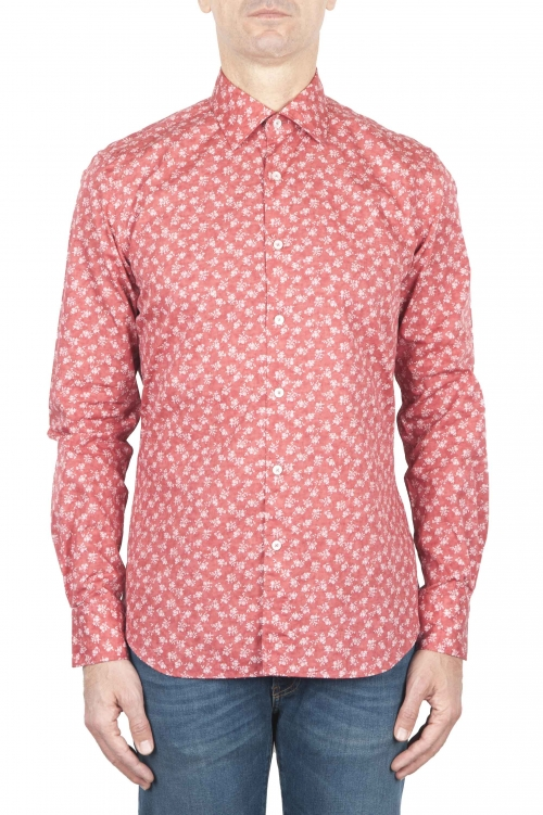 SBU 01592 Geometric printed pattern red cotton shirt 01