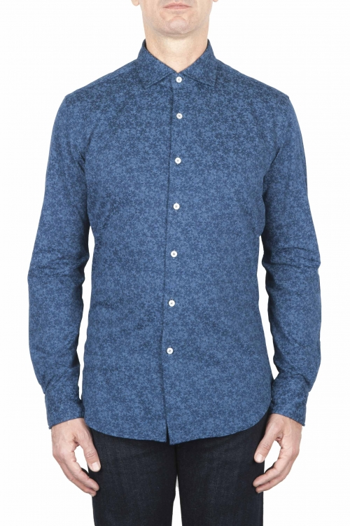SBU 01593 Geometric printed pattern indigo cotton shirt 01