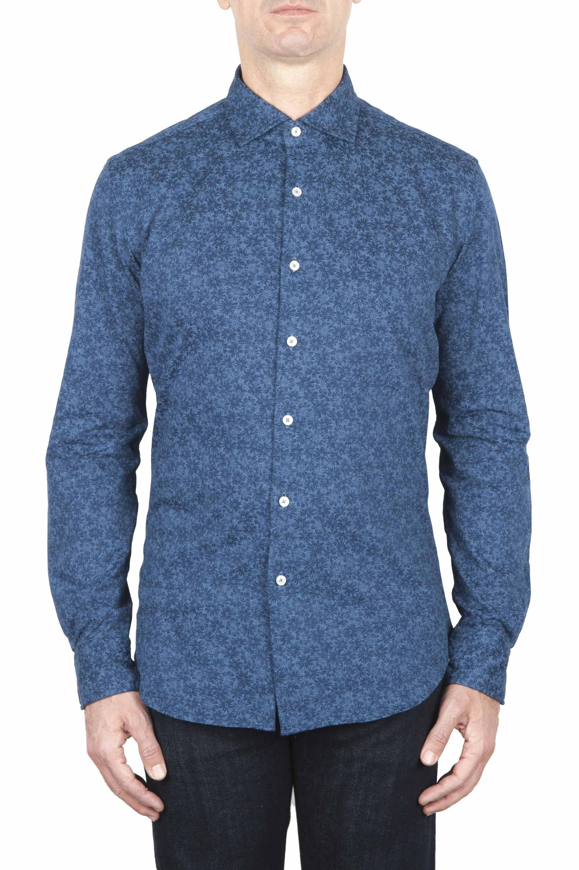SBU 01593 幾何学模様のインディゴコットンシャツ 01