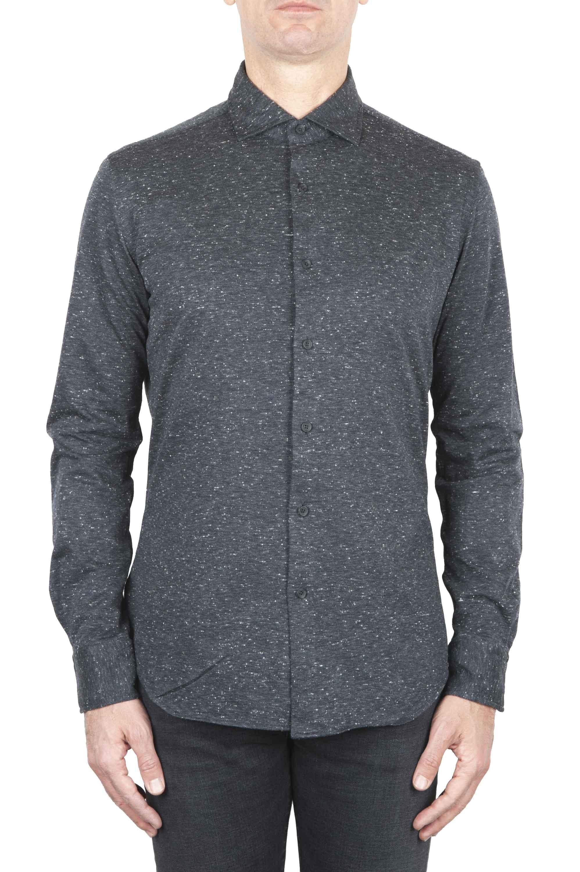 SBU 01594 Grey mouline cotton shirt 01