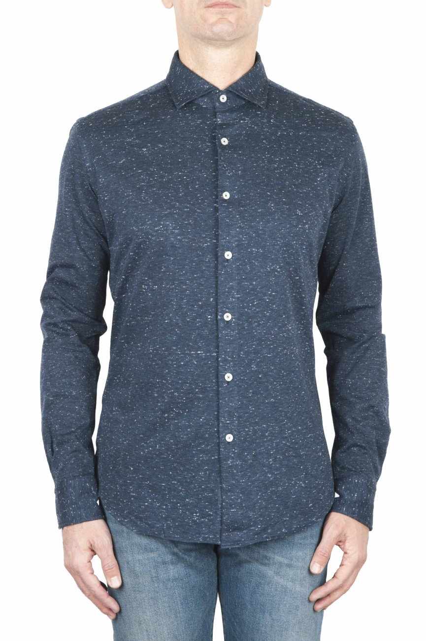 SBU 01595 Blue mouline cotton shirt 01