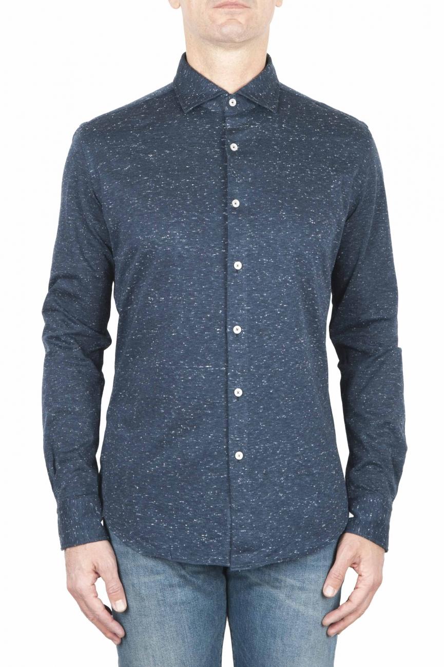 SBU 01595 Camicia in cotone mouline blu 01