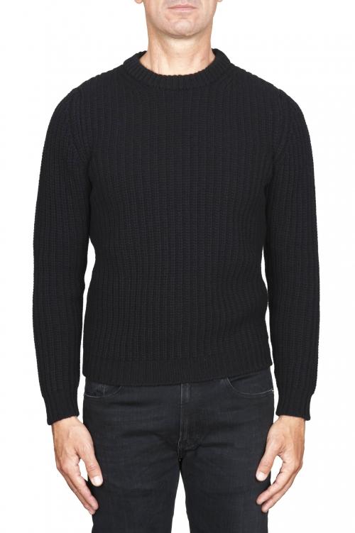 SBU 01596 Classic crew neck sweater in black pure wool fisherman's rib 01