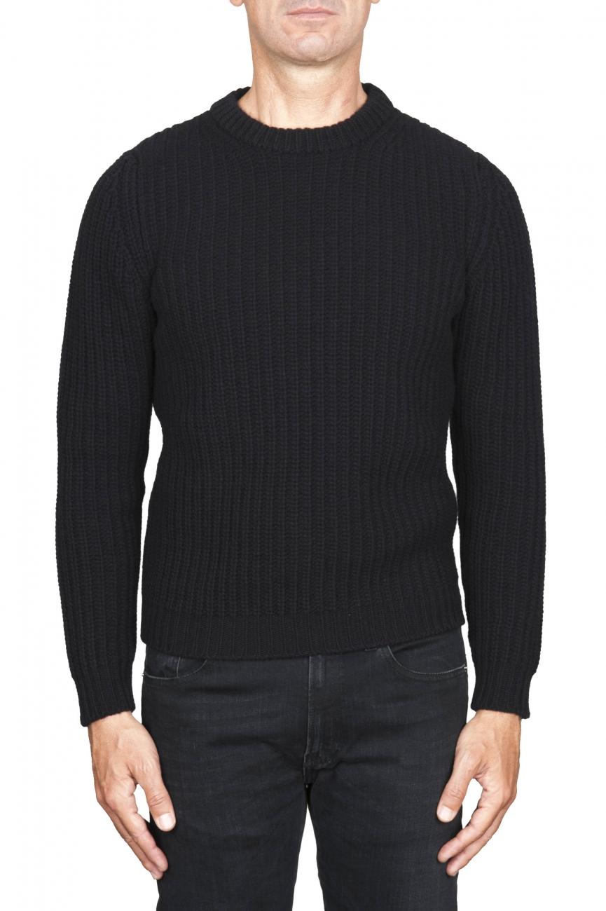 SBU 01596 Pullover girocollo classico nero in pura lana a costa inglese 01