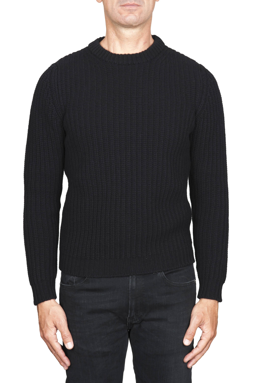 SBU 01596 黒い純粋なウールの漁師のリブのクラシッククルーネックセーター 01