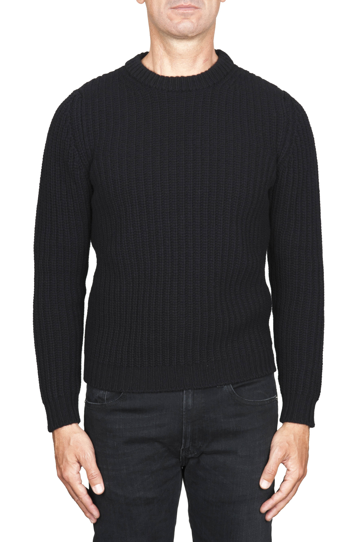 SBU 01596 Suéter clásico de cuello redondo en costilla de pescador de lana pura negra 01