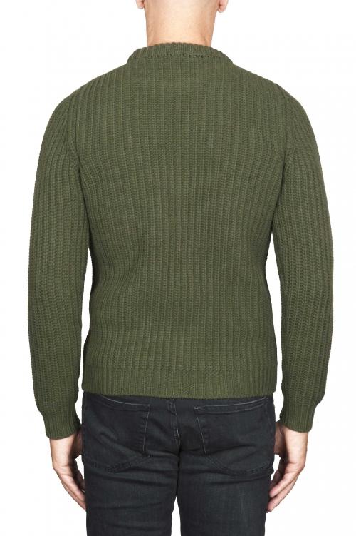 SBU 01597 Suéter clásico de cuello redondo en costilla de pescador de lana pura verde 01