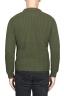 SBU 01597 Suéter clásico de cuello redondo en costilla de pescador de lana pura verde 04
