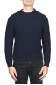 SBU 01598 Classic crew neck sweater in blue pure wool fisherman's rib 01