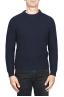 SBU 01598 Suéter clásico de cuello redondo en costilla de pescador de lana pura azul 01