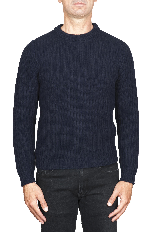 SBU 01598 Pullover girocollo classico blu in pura lana a costa inglese 01