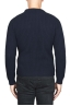 SBU 01598 Classic crew neck sweater in blue pure wool fisherman's rib 04