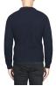 SBU 01598 Suéter clásico de cuello redondo en costilla de pescador de lana pura azul 04