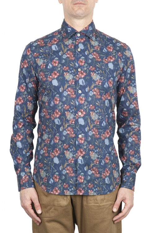 SBU 01600 Floral printed pattern blue cotton shirt 01