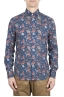 SBU 01600 花柄プリントブルーコットンシャツ 01