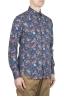 SBU 01600 花柄プリントブルーコットンシャツ 02