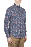 SBU 01600 Floral printed pattern blue cotton shirt 02
