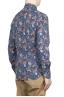 SBU 01600 Chemise en coton bleu à imprimé fleuri 04