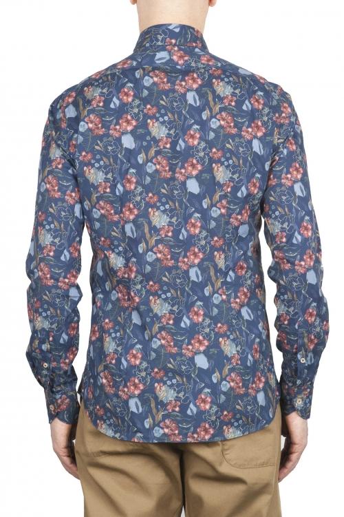 SBU 01600 Camisa de algodón estampado floral azul 01